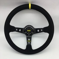 ingrosso cuoio volante da corsa-Volante da 14 pollici 350mm Car Racing OMP Volante da auto da corsa Volante OMP in pelle scamosciata Deep Corn Drifting Steering Wheels