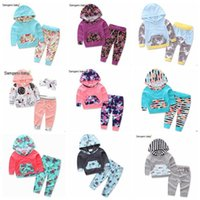 Wholesale Short Sleeve Hoodie Kids - Baby Clothes Kids Outfits Girls Floral Cotton Coat Pants Suits Boys Striped Camo Fashion Hoodies Pants Ins Long Sleeve Kids Clothing B3595