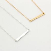 alltags-gold halskette großhandel-New Classic Einfache Bar Halskette Schmuck Gold / Silber Bar Anhänger Halskette Für Frauen Einfach Zu Jeden Tag Verschleiß Schmuck