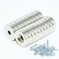 neodym-magneten loch 5mm großhandel-NdFeB Senkkopfmagnet Durchmesser 12mm Mit 3mm 4mm 5mm Schraubenloch Neodym Seltene Erde Permanentmagnetisch 20St