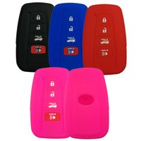 Wholesale toyota camry key buttons - 4 buttons Rubber Key Fob Cover Protector Case Jacket for Toyota Camry 2018 2017 Prius Remote Skin Keyless HYQ14FBC