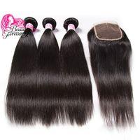 seidenspitze-verschluss indisches haar großhandel-Schönheit für immer indisches silk glattes Haar flechten 3 Bundles mit Schließung 8a Top Menschenhaarverlängerung Haarbündel mit Spitzenverschluss Großhandel