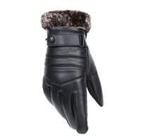 luvas pretas do inverno venda por atacado-Luvas de Couro Genuíno dos homens 2018 Real Pele De Carneiro Preto Luvas de Tela de Toque Botão Marca de Moda Inverno Quente Luvas Novo