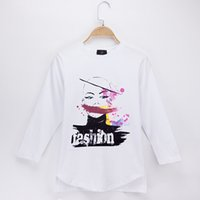Wholesale children models baby clothing resale online - 2018 Kids Clothes Girls T shirts Fashion Model Print Cotton Full Children Long Sleeve T Shirts Baby Tops Tee Child Shirt T T