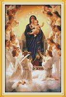 ingrosso dipinti mary vergini-La Vergine Maria e il suo figlio decorano quadri, ricamo a punto croce fatto a mano Set di ricamo contato stampa su tela DMC 14CT / 11CT