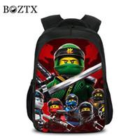 ingrosso zaini dei ragazzi 3d-Bambini Moda Cartone animato Studente Scuola Zaino LEGO Ninjago 3D Borsa Borsa da viaggio per ragazze Ragazzi Ragazzi Scuola Fortnite