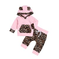 Wholesale hoodies for baby girls - Autumn and winter baby girls pink hoodie 2pcs sets cute hooded hoody+leopard pants toddlers casual outfits for 0-2T