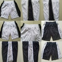 Wholesale Embroidery Factories - Factory Outlet Mens San Antonio White Black Color Best Quality Cheap Full Embroidery Logos Basketball Shorts Size S-XXL Accept Mix Order