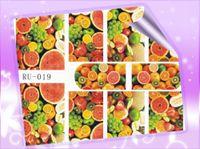 Wholesale nail melon - Wholesale- 1X Nail Sticker FRUIT LEAF MAPLE CHERRY STRAWBERRY ORANGE LEMON WATER MELON RU019-024