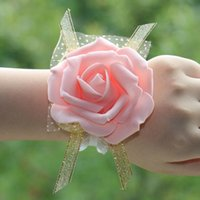 Wholesale Cheap Corsages - Real image Cheap pink bride bridesmaid wrist flowers, cheap wedding supplies ribbon Flower for wedding accessories fast shipping Z381