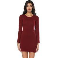 uzun kollu pamuk bodycon elbise toptan satış-2018 Şık Kadınlar Pamuk Rahat Yaz Uzun Kollu Elbiseler Jewel Boyun Kılıf Lady Elbise Giyim Üstü Diz Boyu Ucuz Elbise FS5747