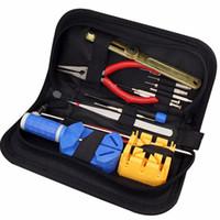 инструменты для ремонта часов оптовых-2017 Hot Sale Universial Watch Tool Watch Repair Tool Kit Opener Link Remover Spring Bar Band Pin w/ Carrying Case May 3
