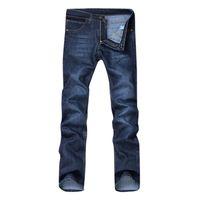 мужчины свободные джинсы дизайнер оптовых-Washed Denim Men's Clothing long casual blue Jeans Loose Zipper Long Trousers Jeans Pants Summer Autumn Designer Mens Jogger