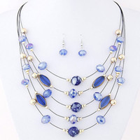 Wholesale cheap statement necklaces for women - Brand Design Cheap Wild Multilayer Bohemia Beads Choker Gem Crystal Necklace Statement Necklace Pendants Jewelry For Women PT34