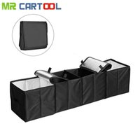 Wholesale collapsible storage containers - wholesale Car Trunk Organizer Auto Container Multi Compartments Storage Basket 4 Grid Boot Stuff Bags Stowing Tidying Folding Collapsible