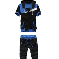Wholesale midnight suit - FDWERYNH New Pattern Summer Man Short Sleeve Even Midnight Leisure Time Upon Seven Part Pants. Leisure Time Suit