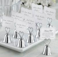 çan kartları toptan satış-Yaratıcı Büyüleyici Krom Kalp Bell Yerde Kart Tutucu ile Resim Kalp Charm Bebek Duş aşk Yaratıcı hediye