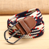 мальчики тканые ремни оптовых-Plain Webbing Male Boys leather Waist Belt handmade HOT Casual Braided Belts Wax Rope Straw Pin Buckle Wide Weaving women