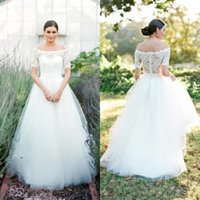 Wholesale wedding dresses soft elegant - 2018 Elegant Boho Country Style Off The Shoulder Wedding Dresses A Line Soft TUlle Puffy With Lace Half Sleeves Covered Button Bridal Gowns