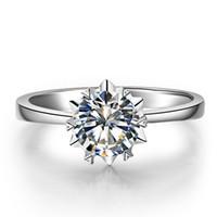 муассанит блестящий оптовых-9K,14K,18K золото классический романтический снег хлопья стиль кольцо круглый бриллиант вырезать один камень установка лаборатории алмазов Moissanite Женские кольца