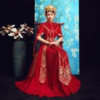 красное официальное платье китайского стиля оптовых-Red Dragon Phoenix Embroidery Dress Formal Chinese Style Wedding Qipao Long Sleeve Cheongsam Dress Vintage Oriental Dresses