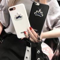 capas de couro da coroa para o iphone venda por atacado-Caso de escudo de couro de coroa de coroa de strass para iphone x 6s 7 7 mais 8 8 mais