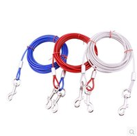 Wholesale wire collars resale online - Steel Wire Iron Dogs Collars Automatic Retractable Leash Pet Supplies Training Walking Flexible High Hardness Double Head Dog Rope ab3 jj