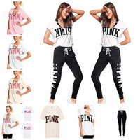 Wholesale xl fleece leggings - Women PINK Letter Tracksuit 2pcs V Neck Shirts Pants Set Short Sleeve T Shirt Bandage Pants Leggings Casual Jogger Outfits 12Sets OOA5169