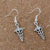 bijoux elfes achat en gros de-Elfe baguette magique boucles d'oreilles argent poisson oreille crochet 30 paires / lot Antique argent lustre bijoux 12 x 40 mm A-195e