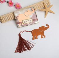 bebek metal yer imi toptan satış-Püskül hediye kutusu ile metal şanslı fil bookmark düğün hediyeleri, bebek duşlar hediyelik eşya wen5830