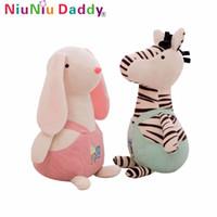 ingrosso coniglio di api-Niuniu papà farcito giocattoli morbidi coniglio capra zebra asino bambini foresta giocattolo cartone animato carino bei giocattoli per bambini regali di compleanno