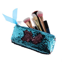 кисть с блестками оптовых-Hot Women Fashion Mermaid Sequins Cosmetic Bag Double Color Pencil Bags Makeup Brush Pouch Makeup Bag Party Handbags Purse
