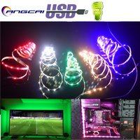 Wholesale led diode 5mm white warm - Angcai 2017 New USB LED Strips Light For TV Computer 5MM 5V 1M 2835 3528 Diode Tape Flexible Warm White Red blue green Narrow