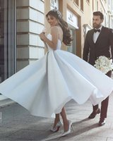 Chic Lace Ankle Length 2018 Beach Wedding Dresses Spaghetti Beaded Backless A line Bridal Dresses Cheap Wedding Gowns