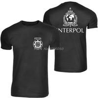 ingrosso corti di polizia-T-shirt Interpol Logo T-shirt internazionale Police Maglietta novità uomo cotone manica corta Tops