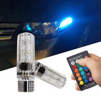 bombillas de varios colores al por mayor-Auto llevó la luz 10x T10 5050 LED RGB Multi-color Interior Wedge Side Light estroboscópico coche luces de control remoto