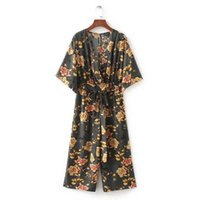 Wholesale rompers for sale – dress Casual Vintage Floral V Neck Jumpsuits Wide Leg Pants Sashes Backless Pleated Fashion Rompers Summer Casual Playsuits