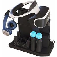 controlador ps4 más frío al por mayor-Para PS4 VR 1/2 PS4 PS4 Pro Slim Soporte vertical para PSVR, cargador de concentrador de carga del controlador Exhibidor de soporte de exhibición, enfriador de ventilador de enfriamiento