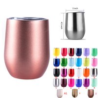 Wholesale Wholesale Christmas Wine Glasses - DHL 9oz Wine glasses tumblers travel cup stainless steel tumbler Insulated stemless wine glasses coffee Beer Mugs Christmas gift 27colors