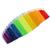 ingrosso potenza linea intrecciata-Parafoil Set Rainbow Kite con barra di controllo 30 m Nylon Flying Line Power Braid Sailing Kites