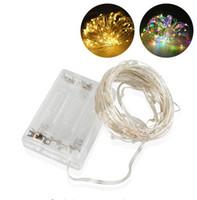 alambre de animales al por mayor-3AA Luces de hadas de alambre de plata de cobre con pilas de luces de hadas para el banquete de boda de vacaciones Luces de Navidad Lámpara de gotas