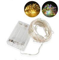 copper wire string lights toptan satış-3AA Pil Kumandalı Led Dize Işık Bakır Gümüş Tel Tatil Düğün Noel Işıkları için Peri Peri Lambaları Lamba Bırakır