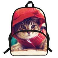 çanta kedi baskısı toptan satış-Çocuklar Için 16-inch Güzel Çocuk Baskı Sırt Çantası Hayvan Çanta Kedi Sırt Çantası Kız Erkek Için