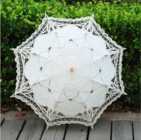 fildişi dantel şemsiye düğün toptan satış-Fildişi Dantel Düğün Için Şemsiye El Yapımı Şemsiye Beyaz Dantel Bahçe Gelin Şemsiye Gelin Nedime Düğün Çapı Yüksek Kalite