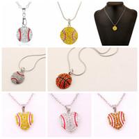 Wholesale Sweater Necklaces - Crystal Rhinestone Sport ball necklace Baseball Softball Basketball Sports Necklace Pendant Jewelry Love Heart Sweater Jewelry FFA136 60pcs