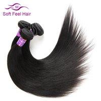 paquetes de pelo brasileño de 28 pulgadas al por mayor-Soft Feel Hair Brasileño Pelo Liso 1 Paquete 8-28 Pulgadas No Remy Extensiones de Tejido Humano Color Natural Envío Gratis