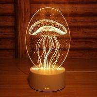 table lumineuse acrylique achat en gros de-Creatives 3D Night Light LED Touchs Switch Table Lampe Protection des yeux Acrylique Conseil Coloré Lampe Pour Enfants Chambre Lire Cadeau