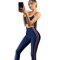 Wholesale striped yoga pants online - Women Tracksuit Set Fitness Sexy Camis Elastic Pant Sets Striped Leggings Tight Jumpsuit Casual Spring Outfit Female