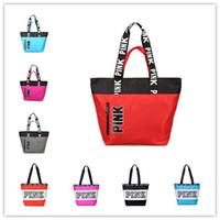 Wholesale Wholesale Handbags Printed - Pink Printing Waterproof Handbags 9 Styles Shoulder Bags Fashion Shoulder Bag Shopping Bags Letters Beach Travel Bag Totes DHL shipping
