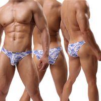 Wholesale bulging mens thongs - Sexy Mens Underwear Lingerie Floral Bulge Pouch Briefs Thongs Jockstrap Shorts Low Rise Underpants Soft Panties